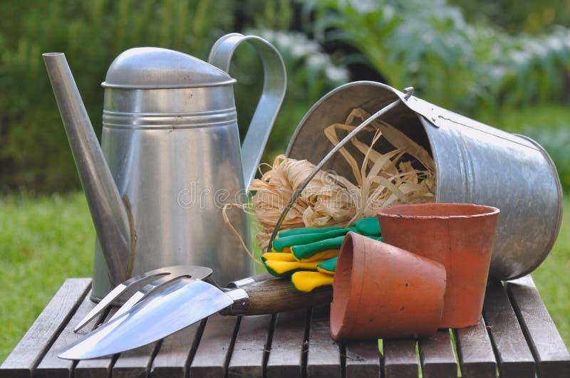 Outils de jardinage neufs, plateau de canne image libre de droits