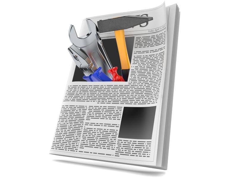 Outils de travail à l'intérieur de journal illustration libre de droits