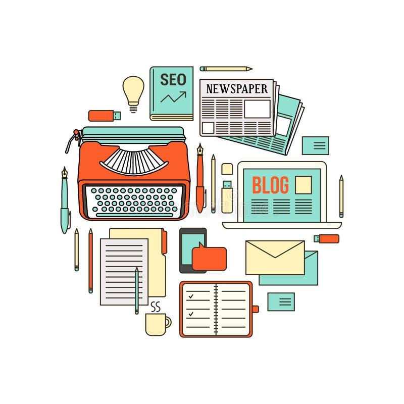 Outils de travail de redacteur publicitaire illustration stock