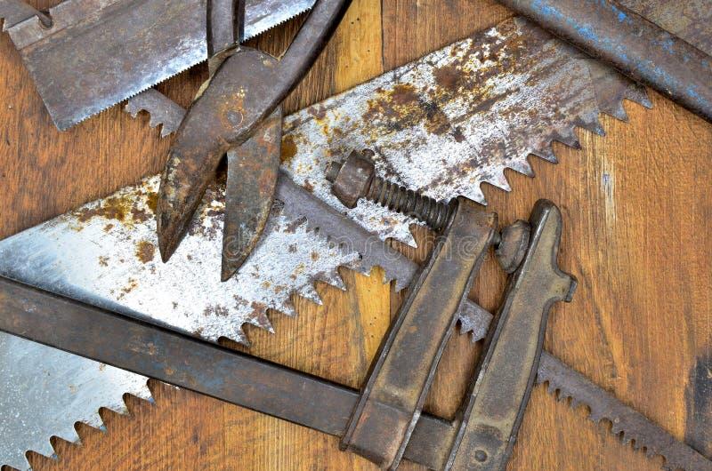 Outils de travail sur le bois photographie stock