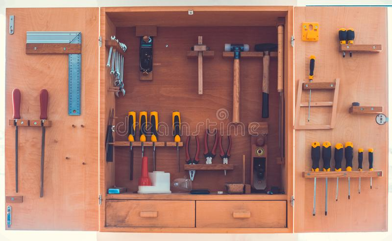 Outils en bois de charpentier de witg de clôture image libre de droits