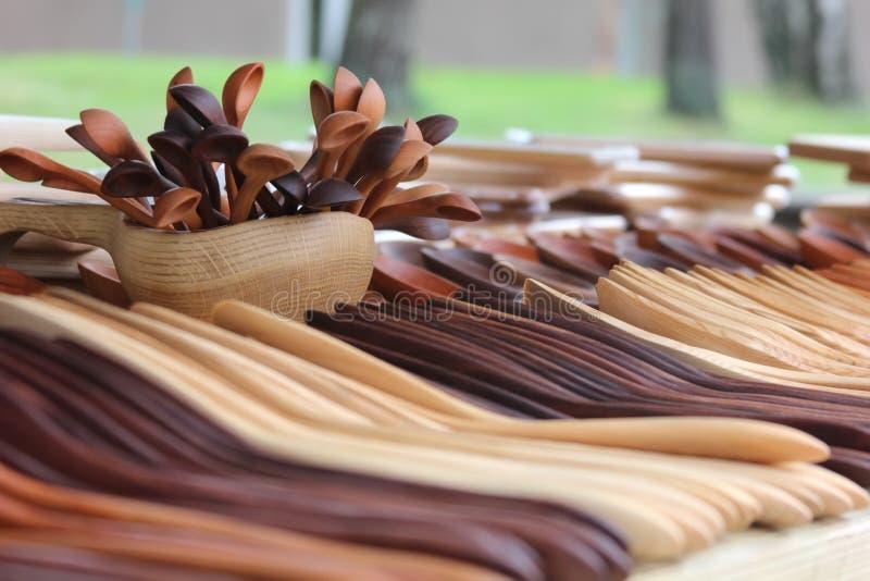 Outils en bois de cuisine images stock