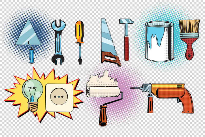 Outils et électricités à la maison, ensemble d'art de bruit illustration stock