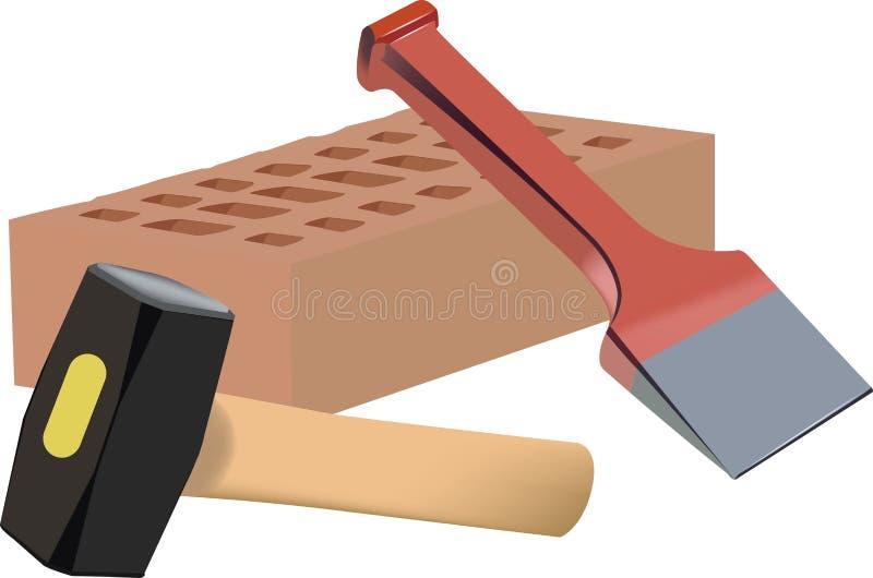 Outils et brique de matériel de bâtiment illustration libre de droits