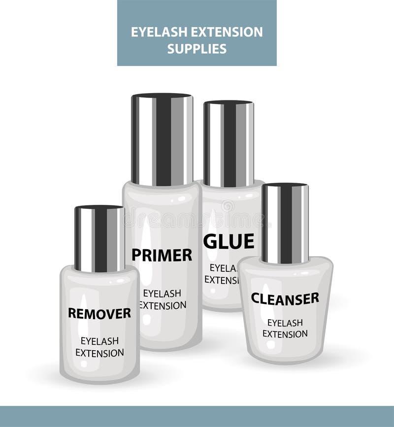 Outils et consommables d'application d'extension de cil Solvant, amorce, détergent, colle Produits pour le maquillage et les proc illustration libre de droits