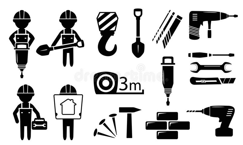 Outils et constructeurs réglés illustration libre de droits
