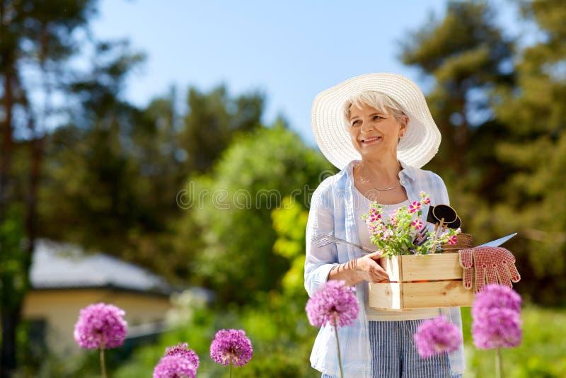 Outils et fleurs de jardin supérieurs de femme à l'été photographie stock libre de droits