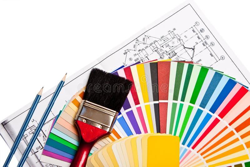 Outils et guide de couleur photos stock