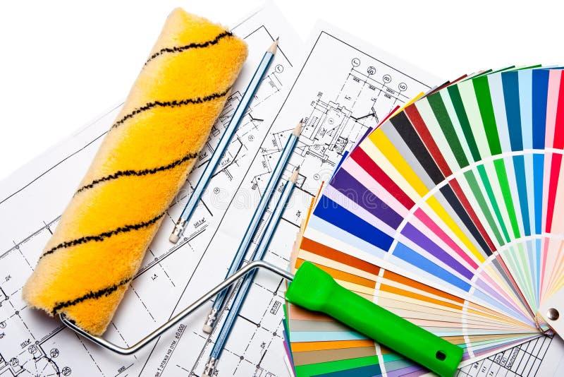 Outils et guide de couleur sur le blanc image stock
