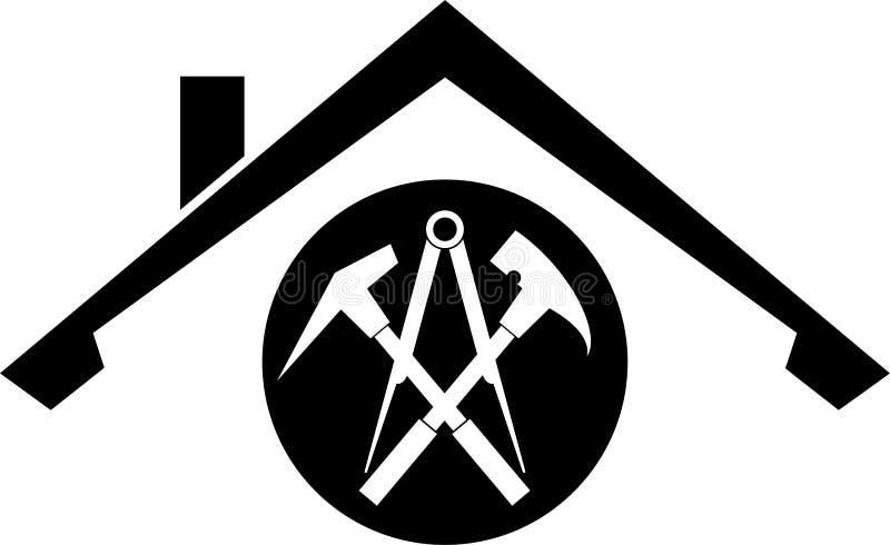 Outils et logo de toit, de roofer et de construction, label d'autocollant illustration stock
