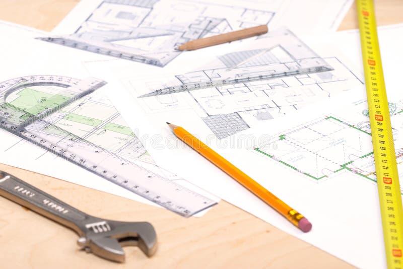 Outils et plans d'étage photo stock