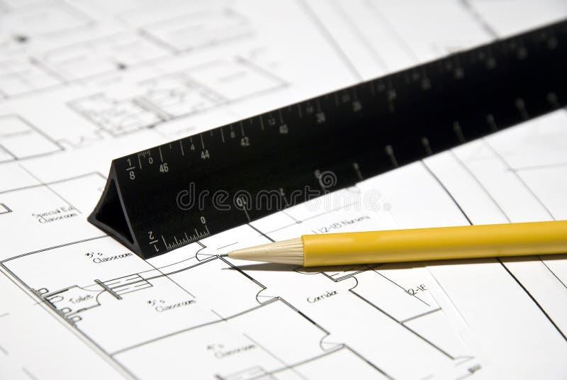 Outils et plans d'architecte photo libre de droits
