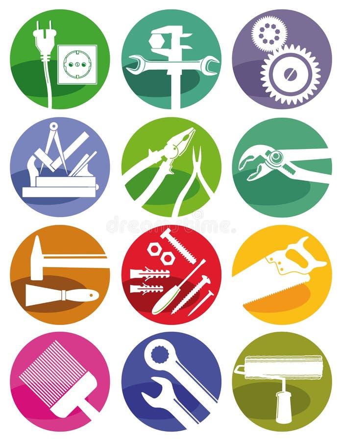 Outils et symboles de métiers illustration libre de droits