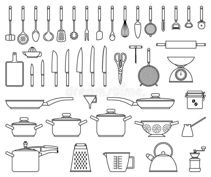 Outils et ustensile de cuisine illustration de vecteur image 43162861 - Outil de cuisine liste ...