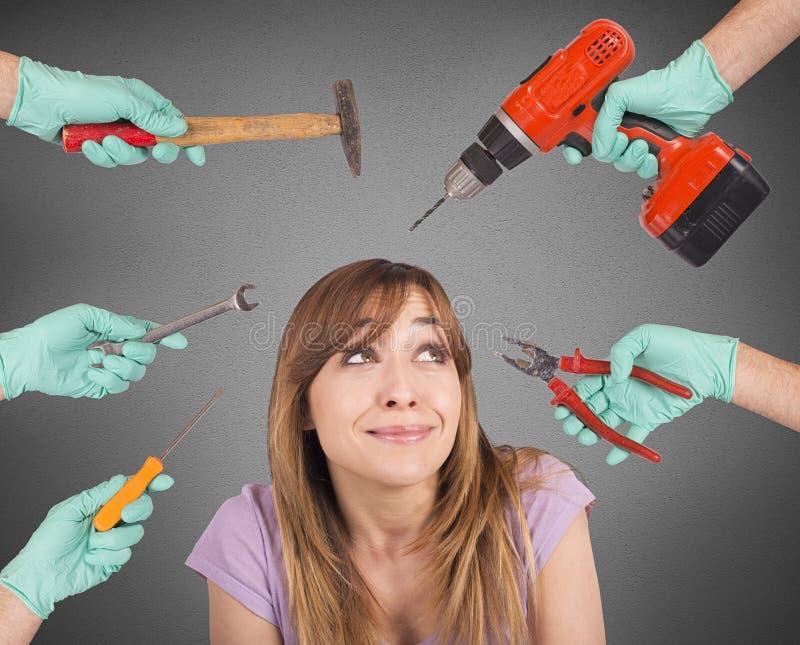 Outils fous effrayants de dentiste photos libres de droits