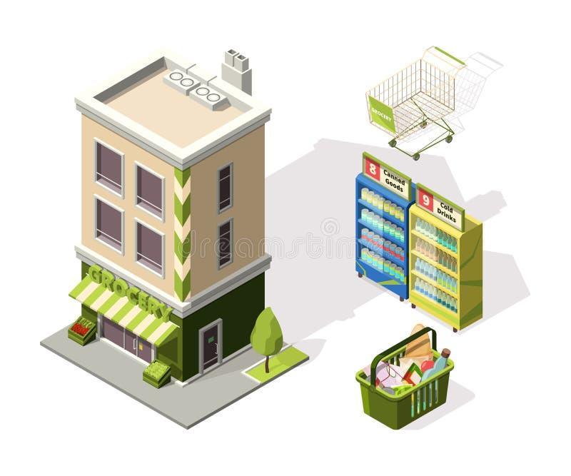 Outils isométriques pour le supermarché illustrations 3d de panier à provisions illustration stock