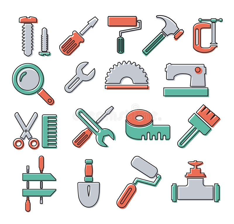 Outils linéaires d'icônes illustration stock