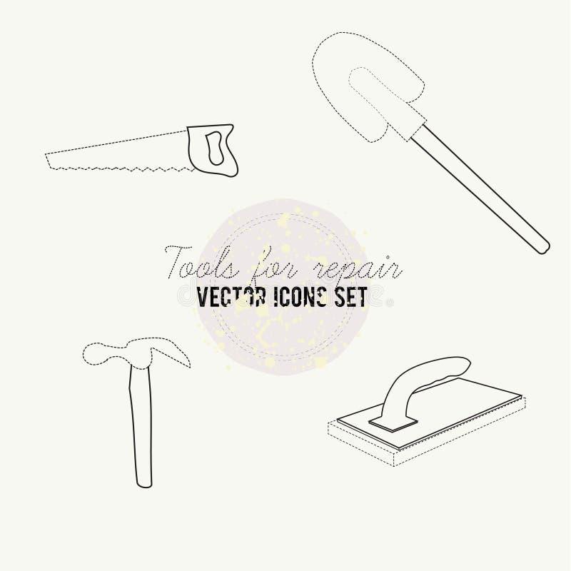 Outils pour l'ensemble d'icône de vecteur de réparation photo stock