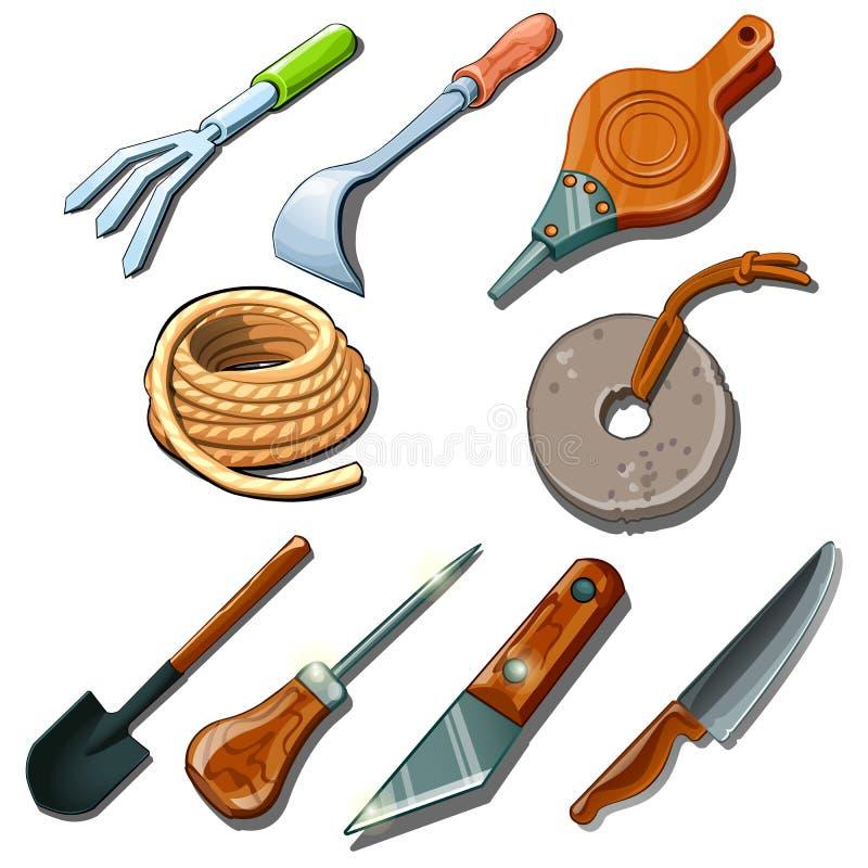 Outils pour le jardinier, le charpentier et le dépanneur illustration libre de droits