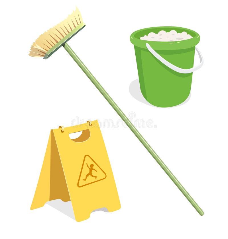 Outils pour le nettoyage illustration de vecteur