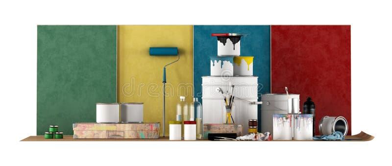 Outils pour que l'échantillon choisi de couleur peigne des murs illustration libre de droits