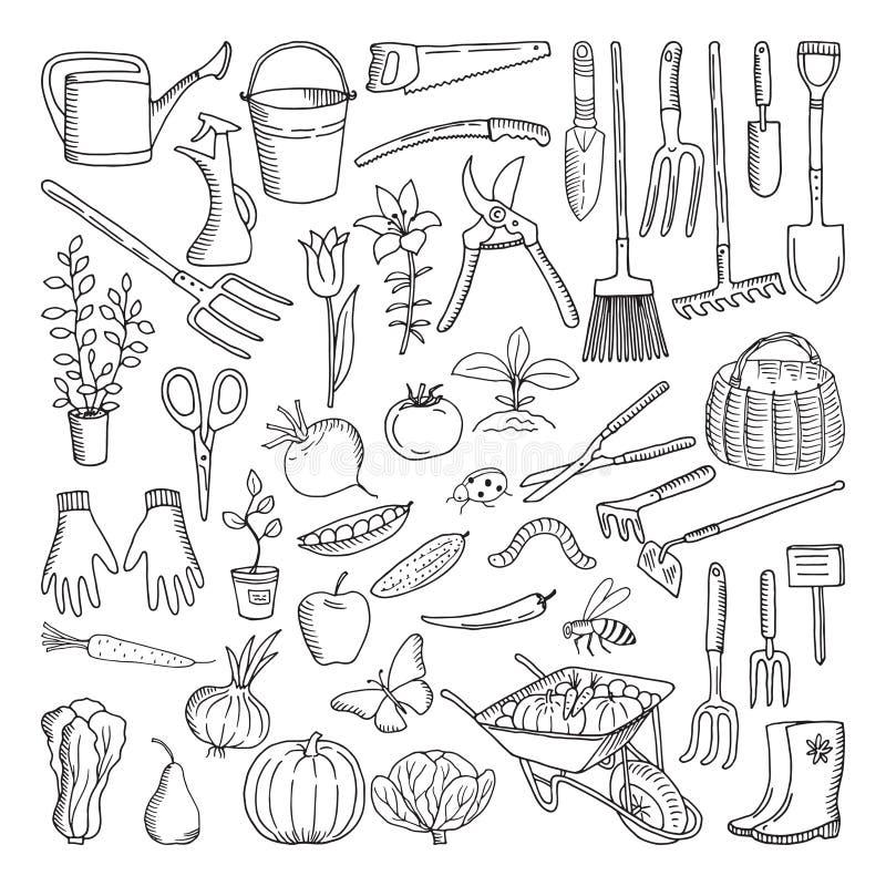 Outils tirés par la main pour cultiver et faire du jardinage Griffonnage d'environnement de nature illustration libre de droits