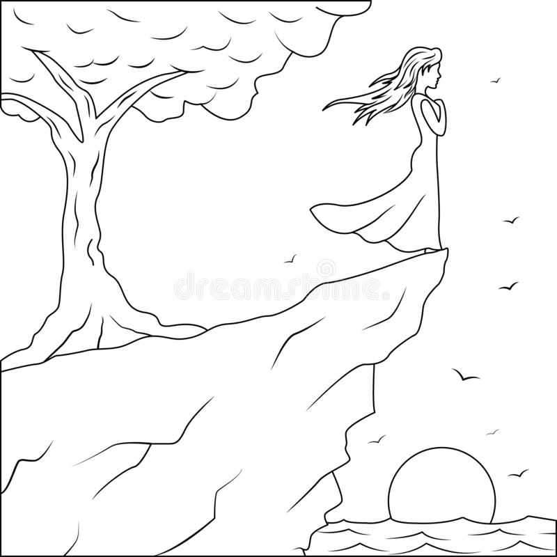 Outine drawing girl standing on the edge of the cliff an looking at the storm sea, shadows, windy dreams, Girl sun and tree vector illustration