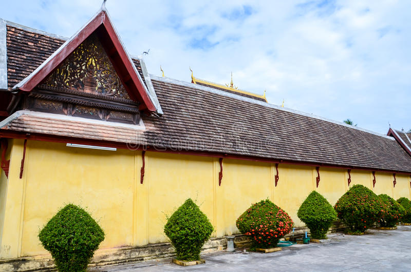 The outiside of Saket temple is an ancient Buddhist temple in Vientiane. Wat Si Saket is a Buddhist wat in Vientiane, Laos. It is situated on Lan Xang Road, on stock photos