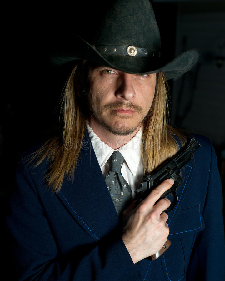 Outlaw Character with Gun stock image