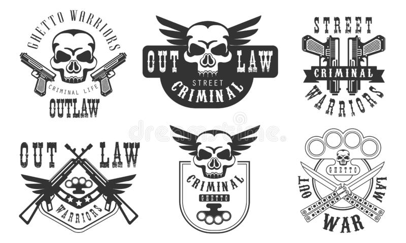Outlaw Street Criminal Retro Labels Set, Welcome to the Ghetto Black Badges Vector Illustration vector illustration