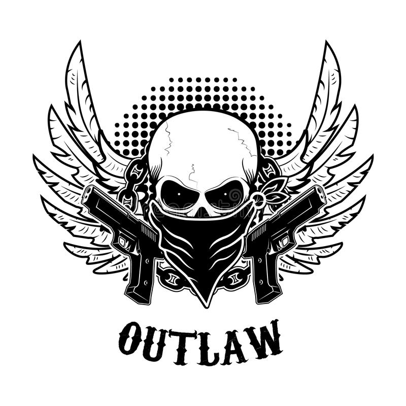 outlaw t shirt print design template stock vector illustration of