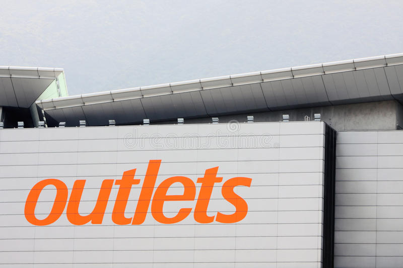 Outlet. Sign at the Shopping Mall royalty free stock photos
