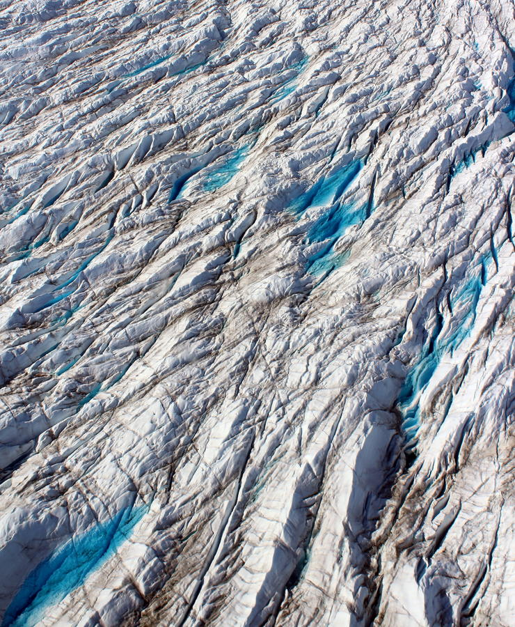 Outlet glacier, crevasses, North West Greenland stock image