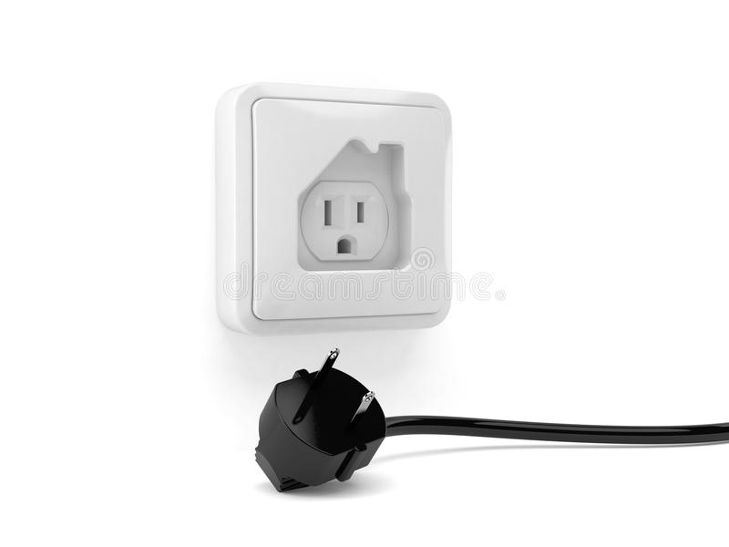 Outlet In House Shape With Electric Plug Stock Illustration ...