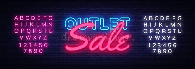Outlet Sale neon text vector design template. Discount neon banner, light banner design element colorful modern design vector illustration