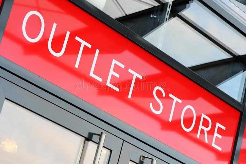 Outlet store. Entrance of an outlet store royalty free stock photography