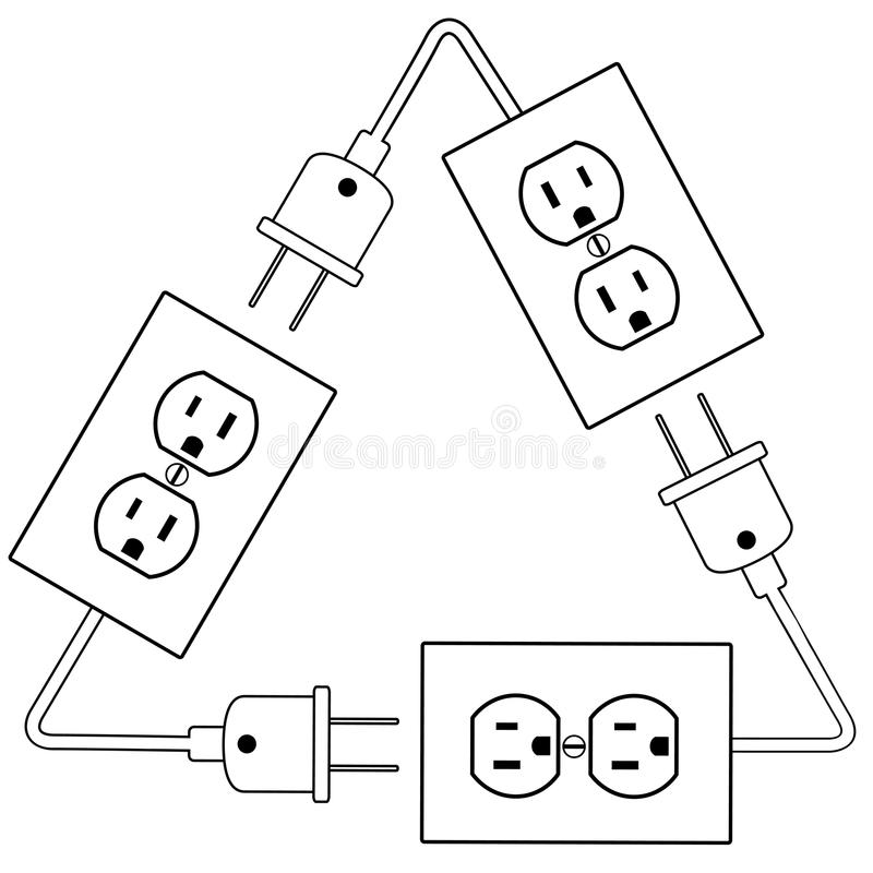 outlets plug recycle renewable electric energy stock vector