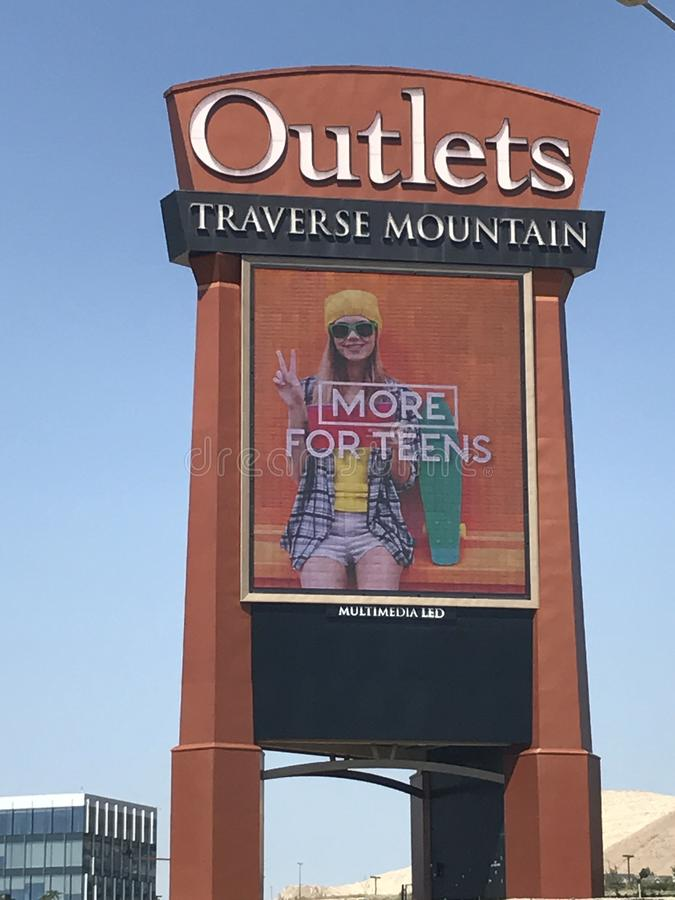 Outlets at Traverse Mountain in Lehi, Utah. It is the first and only Outlet in Utah County and borders Salt Lake County royalty free stock images