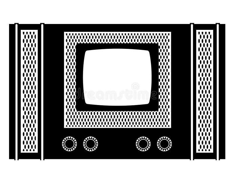Outlin retro velho do preto da ilustração do vetor do estoque do ícone do vintage da tevê ilustração stock