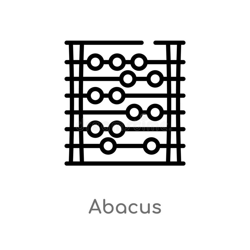 outline abacus vector icon. isolated black simple line element illustration from education concept. editable vector stroke abacus royalty free illustration