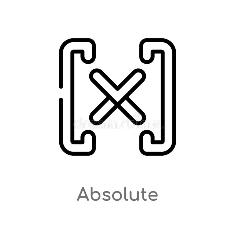 outline absolute vector icon. isolated black simple line element illustration from signs concept. editable vector stroke absolute royalty free illustration