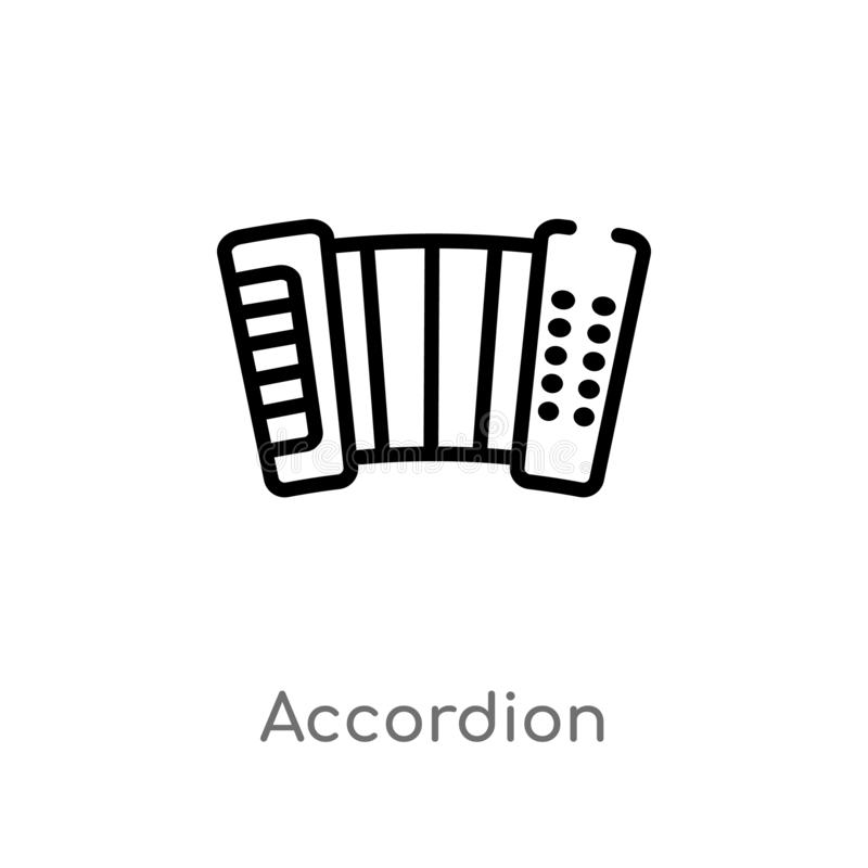 Outline accordion vector icon. isolated black simple line element illustration from music concept. editable vector stroke. Accordion icon on white background royalty free illustration