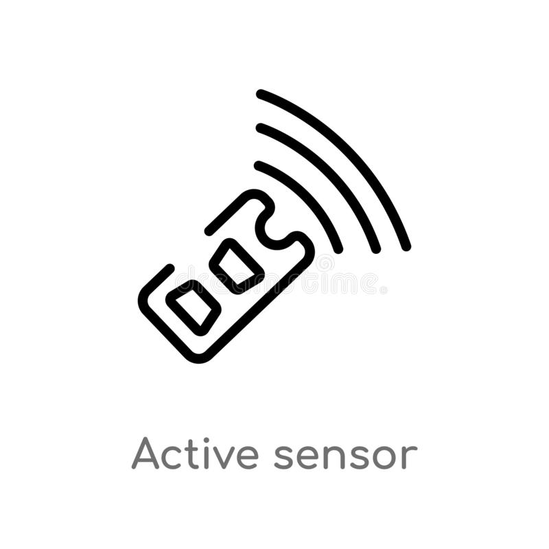 outline active sensor vector icon. isolated black simple line element illustration from general-1 concept. editable vector stroke vector illustration