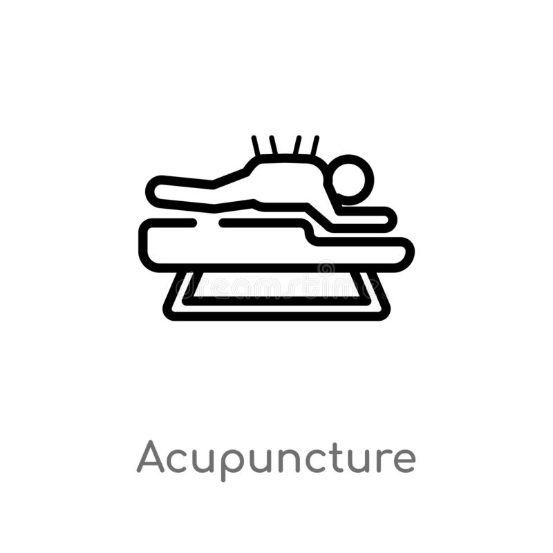 Outline acupuncture vector icon. isolated black simple line element illustration from beauty concept. editable vector stroke. Acupuncture icon on white royalty free illustration