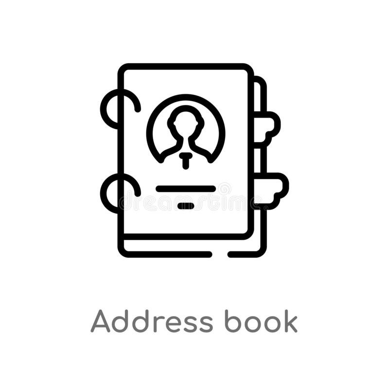 Outline address book vector icon. isolated black simple line element illustration from business concept. editable vector stroke. Address book icon on white vector illustration