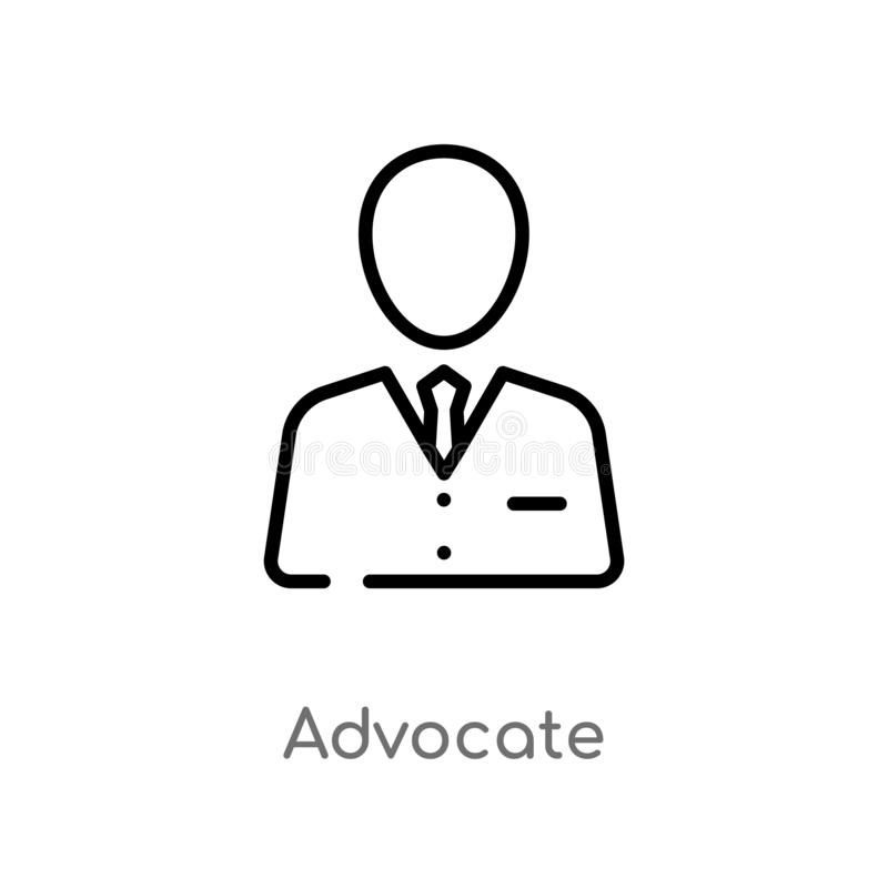 Outline advocate vector icon. isolated black simple line element illustration from law and justice concept. editable vector stroke. Advocate icon on white stock illustration