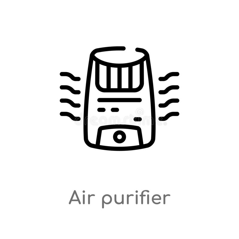 Outline air purifier vector icon. isolated black simple line element illustration from electronic devices concept. editable vector. Stroke air purifier icon on stock illustration