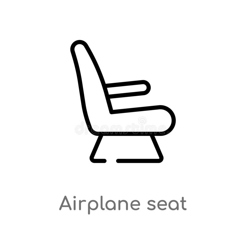 outline airplane seat vector icon. isolated black simple line element illustration from airport terminal concept. editable vector vector illustration