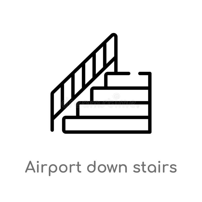 outline airport down stairs vector icon. isolated black simple line element illustration from airport terminal concept. editable vector illustration
