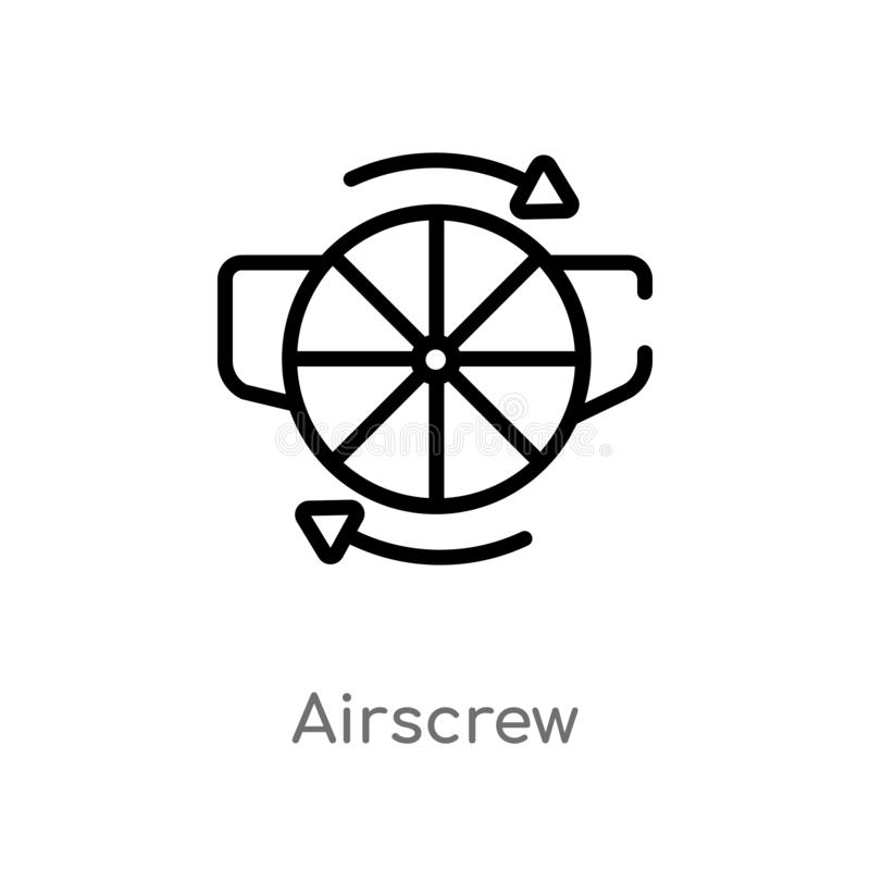 Outline airscrew vector icon. isolated black simple line element illustration from astronomy concept. editable vector stroke. Airscrew icon on white background royalty free illustration